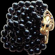 Fabulous Les Bernard Panther Clasp Vintage Necklace