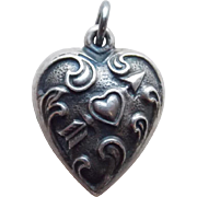 !940s Sterling Cupids Heart Puffy Charm