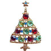 Fabulous 1980s Christmas Tree Rhinestone Brooch