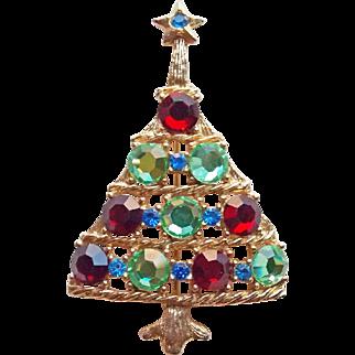 Fabulous 1980s Christmas Tree Rhinestone Brooch