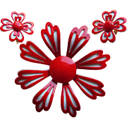 Red & White FLOWER POWER Vintage Brooch Set