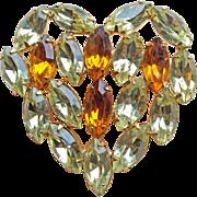 Gorgeous HEART Amber & Yellow Rhinestone Vintage Brooch