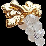 Signed Swarovski Crystal Grapes Vintage Brooch - Swan Mark