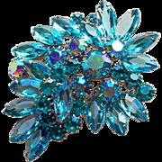 Fabulous AQUA & TEAL BLUE Rhinestone Vintage Brooch