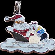 Santa in Sleigh Sterling Enamel Vintage Charm