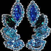 Unsigned Weiss Blue Green & Aqua Rhinestone Halo Vintage Earrings