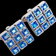 Blue Aurora Square Rhinestone Vintage Cufflinks