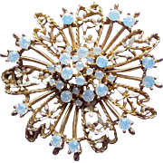 Gorgeous Opalescent Rhinestone Vintage Brooch