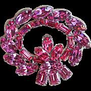 Fabulous WEISS Signed Pink Rhinestone Vintage Brooch