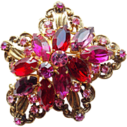 Gorgeous Red Pink & Purple Rhinestone Brooch