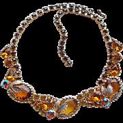 Gorgeous Amber Rhinestone Vintage Necklace