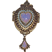 Gorgeous Opalescent Glass Heart Vintage Brooch