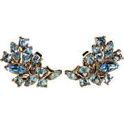 Fabulous TRIFARI Signed Blue Rhinestone Clip Earrings