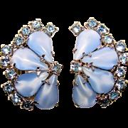 Fabulous BLUE SATIN Glass Rhinestone Clip Earrings
