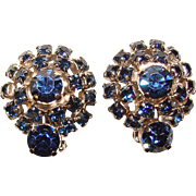 Gorgeous DARK BLUE Vintage Rhinestone Clip Earrings