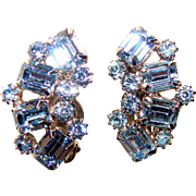 Fabulous WEISS Signed Vintage Blue Rhinestone Clip Earrings