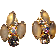 Gorgeous Frosted Glass Smoke Aurora Rhinestone Clip Earrings