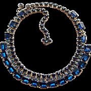 Fabulous Blue Rhinestone Vintage Necklace