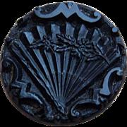 "1880 Victorian Fan Glass Picture Button - 5/8"""