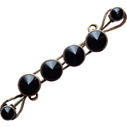 Victorian Black Glass Mourning Brooch