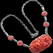 Art Deco Coral Celluloid Necklace