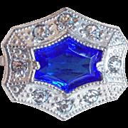 Tiny Antique Blue Glass & Rhinestone Mini Sash Pin - For Doll or Lapel