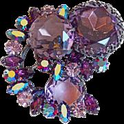 Fabulous REGENCY Huge Purple Rhinestone Brooch
