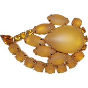 Honey Amber Glass & Rhinestone Brooch