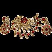 Fabulous WEISS Signed Vintage Baguette & Red Rhinestone Brooch Set