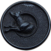 Victorian Leaping Dog Gutta Percha or Vulcanite Button