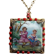 Gorgeous Porcelain Lovers Scene Vintage Necklace