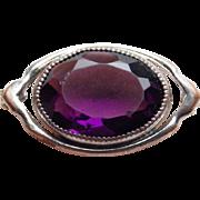 Tiny Antique Purple Glass Mini Sash Pin - For Doll or Lapel