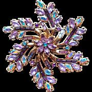 Lavender & Purple Rhinestone Brooch