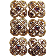 Brown Rhinestone Vintage Buttons