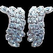 Gorgeous Kramer Clear Rhinestone Vintage Earrings
