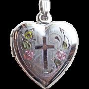 Sterling Cross & Flowers Vintage Locket - Heart Shaped