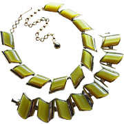 Charel Green Moonglow Lucite Vintage Necklace Set