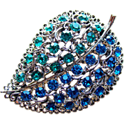 Gorgeous Teal & Capri Blue Rhinestone Brooch