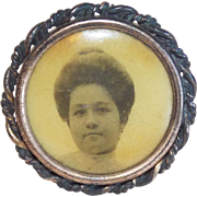 Tiny Antique Lady Portrait Mourning Brooch - For Doll or Lapel
