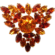 Fabulous Large AMBER RHINESTONE Vintage Estate Brooch