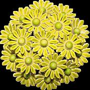 Awesome 1960's GREEN Enamel Flower Power Brooch