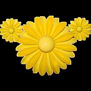 Awesome HUGE 1960's Yellow Enamel Flower Power Brooch Set