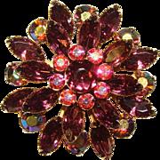 Fabulous PURPLE NAVETTE Rhinestone Aurora Vintage Brooch