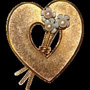 Gorgeous KREMENTZ Enamel & Cultured Pearl Forget Me Not Heart Shaped Brooch