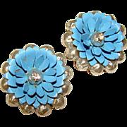 Fabulous BLUE ENAMEL Flower Pearl & Rhinestone Vintage Clip Earrings
