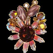 Fabulous Purple OPALESCENT GIVRE GLASS Vintage Rhinestone Brooch