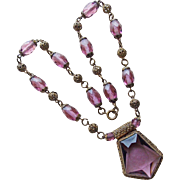 Fabulous Czech Art Deco Purple Glass Necklace