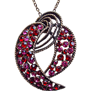 Gorgeous KRAMER Red & Pink Rhinestone Pendant Necklace