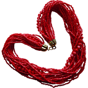 Gorgeous Red Glass Bead Multi Strand Torsade Necklace