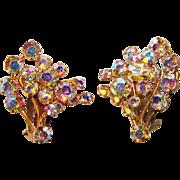 Fabulous AUSTRIA Vintage Aurora Rhinestone Clip Earrings